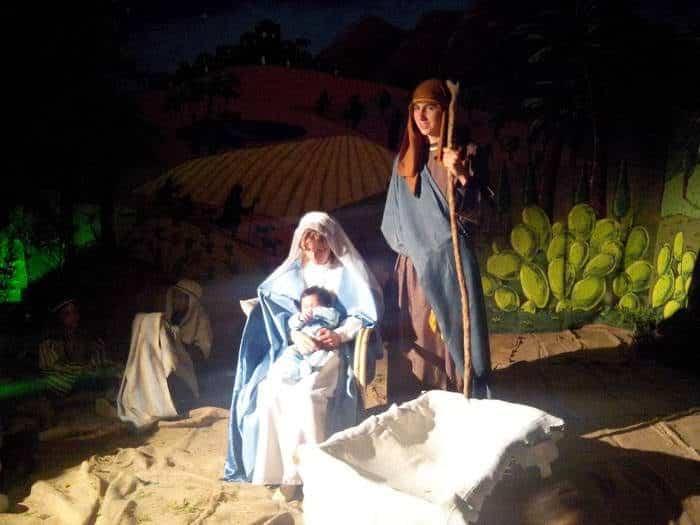 Representación de Belén, San José y la virgen