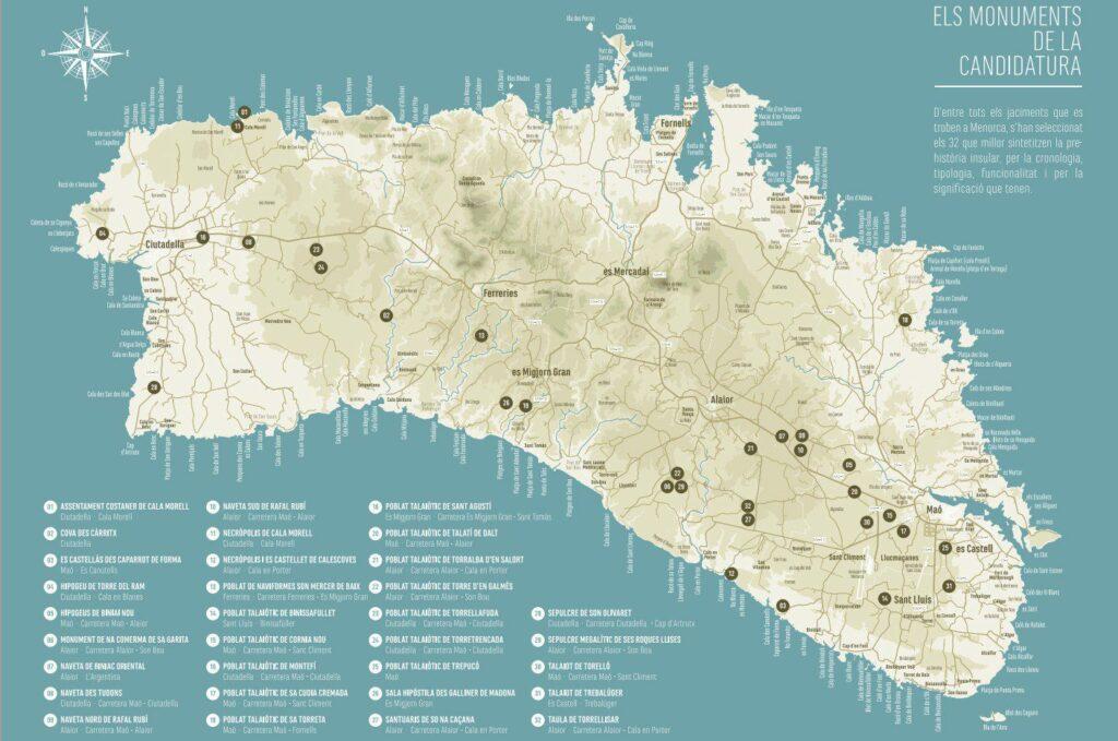 Mapa Menorca talayótica